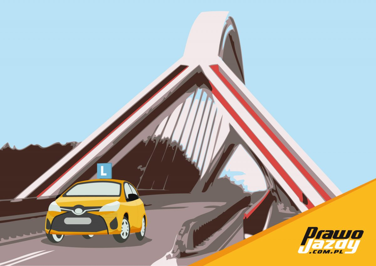 obrazek przedstawia most w Ostrołęce i samochód szkoły jazdy