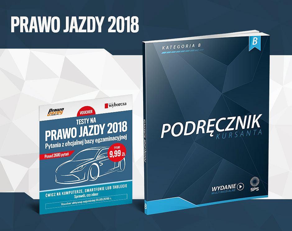 """Wizualizacja vouchera z kodem do testów na prawo jazdy i """"Podręcznik Kursanta"""" kategorii B od PrawoJazdy.com.pl, które będą dostępne w Gazecie Wyborczej"""